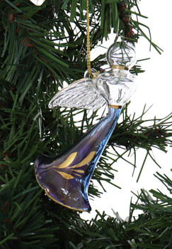 Flying Angel Mouth-Blown Egyptian Glass Ornament - Blue Garland Right Side