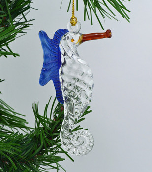 Seahorse Mouth Blown Egyptian Glass Ornament 4.25
