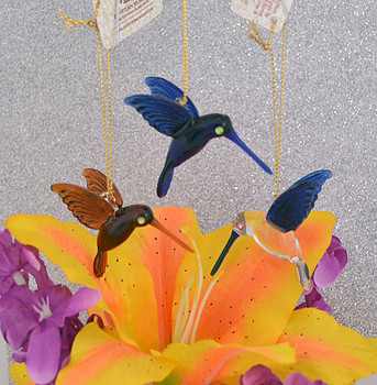 Mini Hummingbirds Mouth Blown Egyptian Glass Ornaments 3 pc set  with faux flower