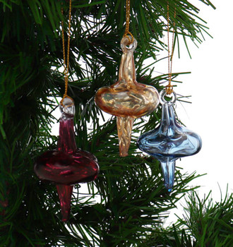 3 pc Mini Outer Swirl Mouth-Blown Egyptian Glass Ornaments, Red garland view