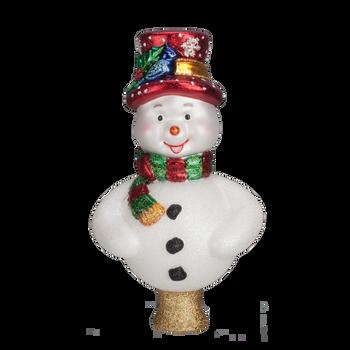 Frosty Snowman Blown Glass Tree Topper