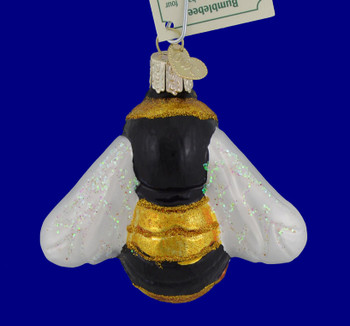 Bumblebee Glass Ornament 12521 Old World Christmas blue background