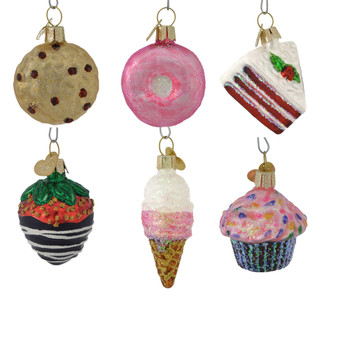 Mini Dessert Glass Ornaments 6 piece Set 14026 Old World Christmas