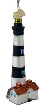 Bodie Island Lighthouse Glass Ornament 20102 Old World Christmas front angle
