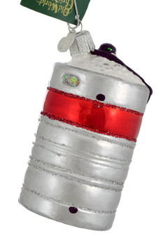 Aluminum Beer Keg Glass Ornament 32316 Old World Christmas side