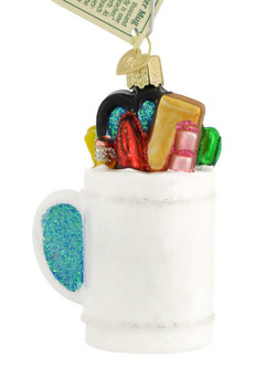 Best Teacher Mug Glass Ornament 32318 Old World Christmas white back