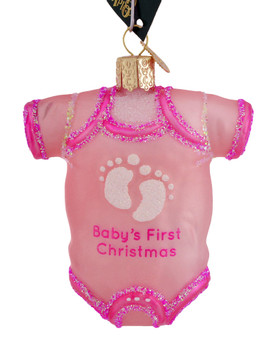 Babys 1st Christmas Pink Onesie Glass Ornament Old World Christmas 32338