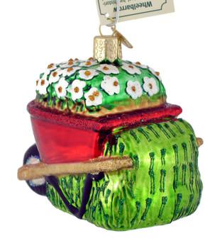 Wheelbarrow Glass Ornament 36236 Old World Christmas back