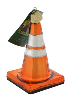 Traffic Cone Glass Ornament 36237 Old World Christmas top view