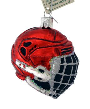 Ice Hockey Helmet Glass Ornament by Old World Christmas 44113 side