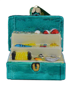 Fishing Tackle Box Glass Ornament 44123 Old World Christmas front view on shelf