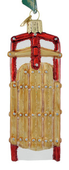 Vintage Snow Sled Glass Ornament 44124 Old World Christmas front
