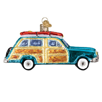 Surfs Up Woody Wagon Glass Ornament 46071 Old World Christmas