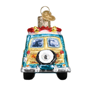 Surfs Up Woody Wagon Glass Ornament 46071 Old World Christmas back