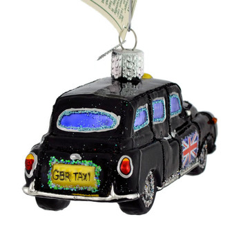 British Taxi Glass Ornament 46079 Old World Christmas other side