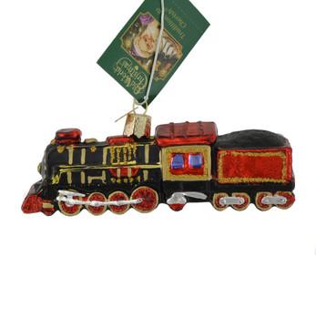Coal Train Glass Ornament 46080 Old World Christmas left sise