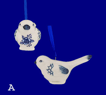 Delft Styled Blue and White Small Bird Ornaments Style A