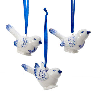"Delft Styled Blue and White Small Bird Ornaments, 1 3/4 - 2 5/8"", #KAJ7706"