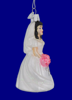 Black Hair Bride Ornament 10227 black  by Old World Christmas side