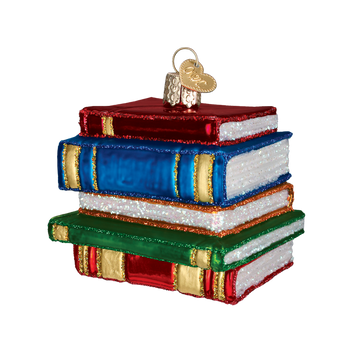 Stack of Books Education Glass Ornament