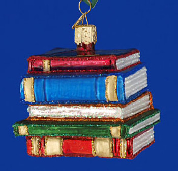 Stack of Books Education Old World Christmas Glass Ornament 32112