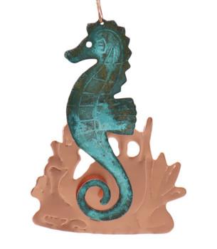 Seahorse Copper Ornament