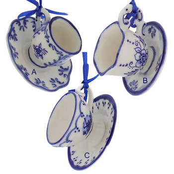 Delft Styled Blue and White Cup and Saucer Ornaments