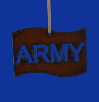 Rustic Cut Steel Army Flag Ornament