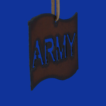 Rustic Cut Steel Army Flag Ornament front side