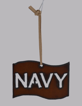 Rustic Cut Steel Navy Flag Ornament white background