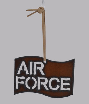 Rustic Cut Steel Air Force Flag Ornament white background