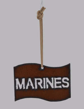Rustic Cut Steel Marines Flag Ornament made in USA inset