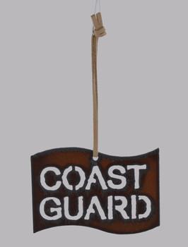 Rustic Cut Steel Coast Guard Flag Ornament made in USA inset