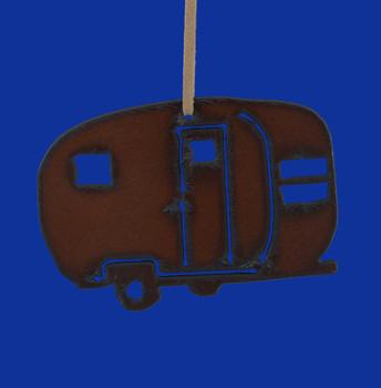 Rustic Cut Steel Camper Trailer Ornament