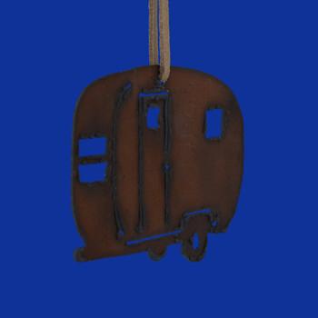 Rustic Cut Steel Camper Trailer Ornament front side