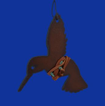 Rustic Cut Steel Hummingbird Ornament