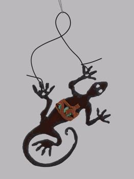 Rustic Cut Steel Lizard Ornament made in USA inset