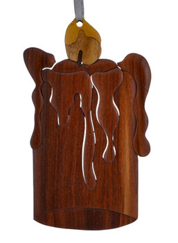 Candle Intarsia Wood Ornament