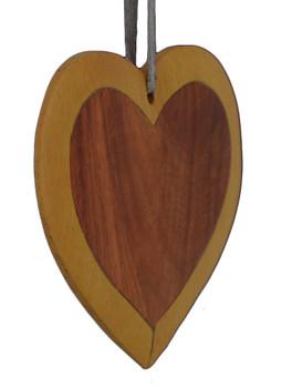 Heart Intarsia Wood Ornament side