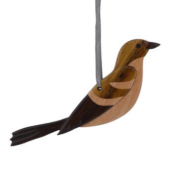 Mocking Bird Intarsia Wood Bird Ornament