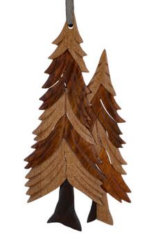 Pine Trees Intarsia Wood Ornament