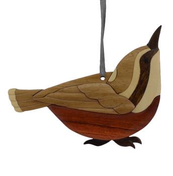 Wren Intarsia Wood Bird Ornament