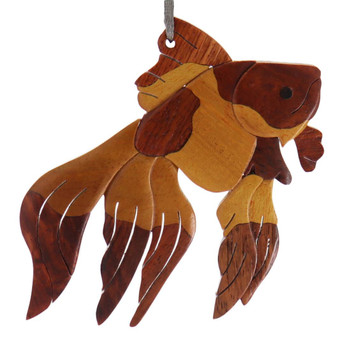 Fantail Goldfish Intarsia Wood Ornament