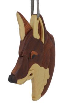 Red Fox Intarsia Wood Ornament side