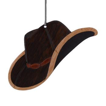 Cowboy Hat Intarsia Wood Ornament