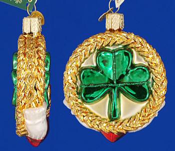 Irish Celtic Claddagh Ring Old World Christmas Glass Ornament 36081 inset
