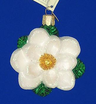 White Magnolia Flower Old World Christmas Glass Ornament 36093
