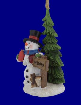Woodland Snowman Scene Ornament  Figurine side view
