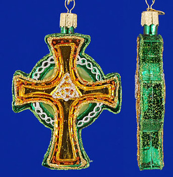 Trinity Triquetra Celtic Cross Old World Christmas Glass Ornament 36117 inset