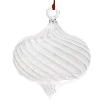 Iridescent Onion Shape Round Mouth-Blown Egyptian Glass Ornament